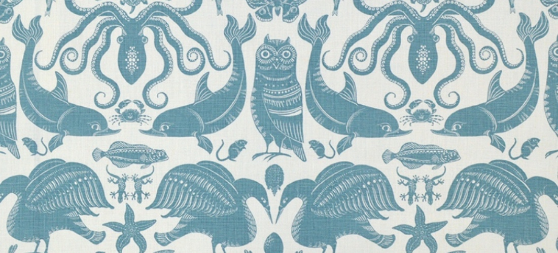 Fanny Shorter Birds & Beasts Pebble blue animal print fabric upholstery curtains