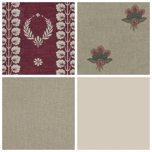 Inchyra Couronne aged linen damson fabric