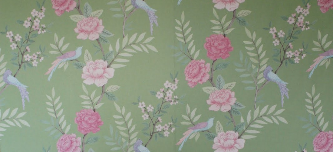 Sarah Hardaker Chinoiserie Peapod large scale green pink floral linen