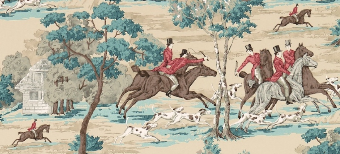 Sanderson Tally Ho wallpaper teal & ruby hunting scene wallpaper