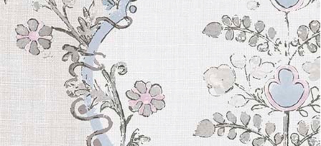 Lewis & Wood Vallance Tea Rose floral linen curtain fabric blue pink