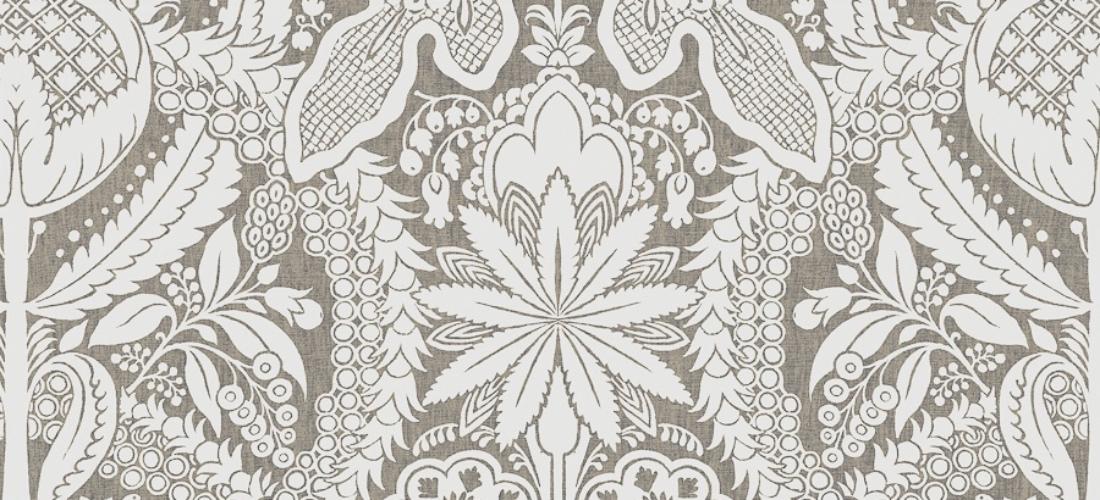 Lewis & Wood Hanbury Charcoal wide width charcoal white wallpaper