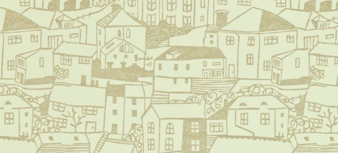 Sanderson St Ives cream wallpaper houses in village scene