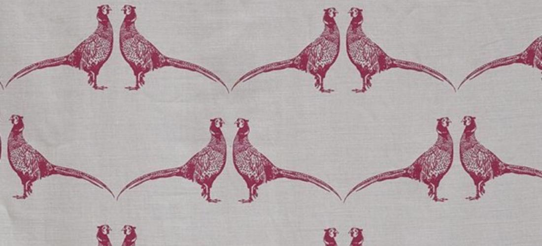 Barneby Gates Pheasant pink on cream fabric