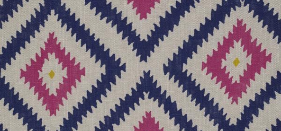 Andrew Martin Glacier Paradise geometric printed pink blue linen