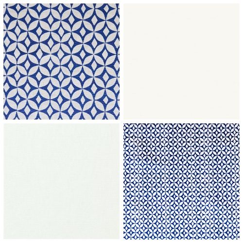 Korla fabric Quadria and Portia in Ink Blue moodboard decorating scheme