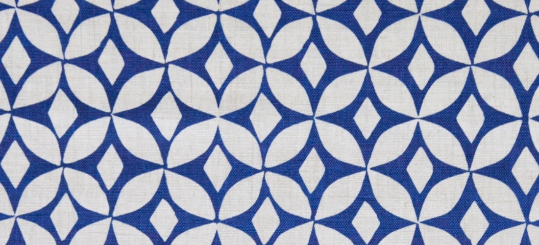 Korla Quadria Ink Blue royal blue geometric printed cotton fabric