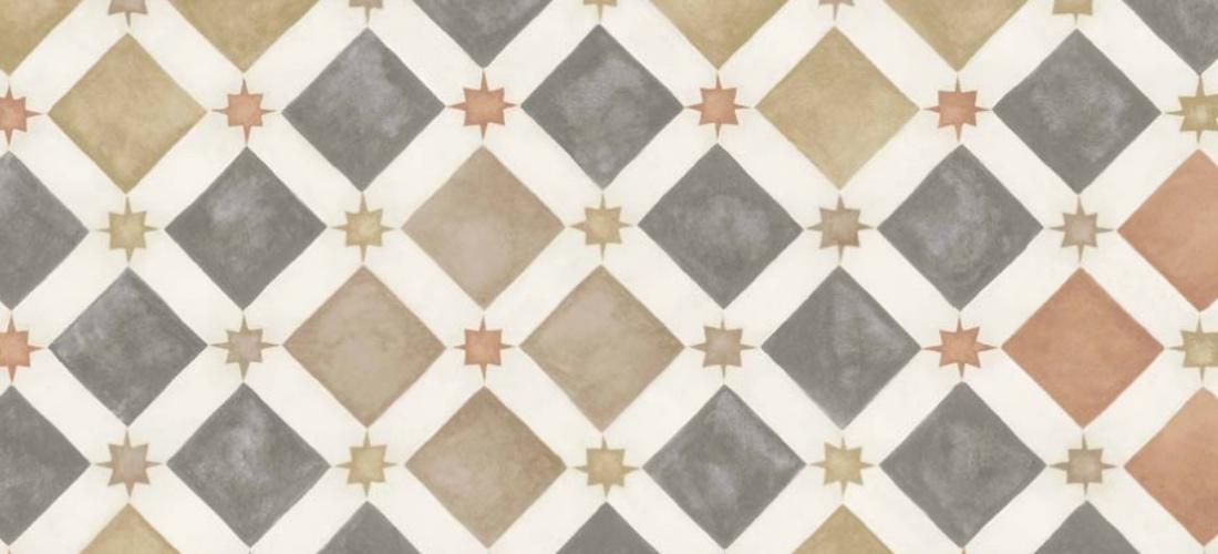 Cole & Son Zellige Spice & Charcoal moroccan Martyn Lawrence Bullard wallpaper