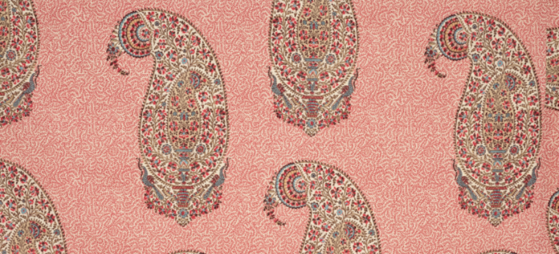 Soane Britain paisley parrot red pink poplin printed fabric