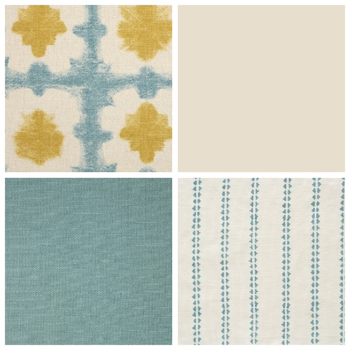 Vanessa Arbuthnott Origami in Turquoise and Saffron fabric decorating ideas