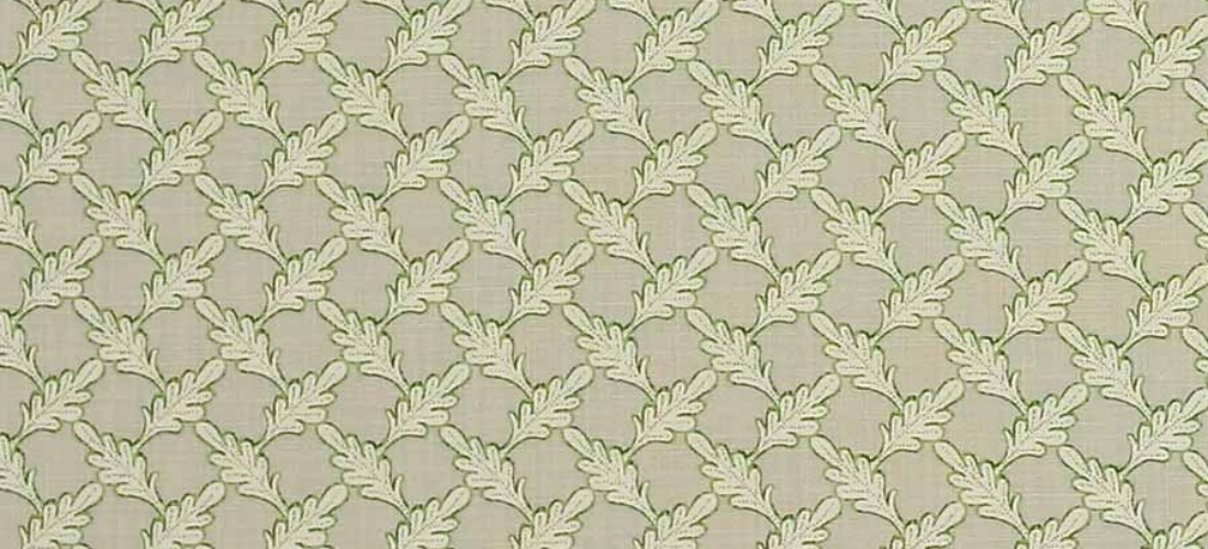 Colefax and Fowler Oaken Beige linen leaf lime green fabric