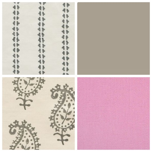 Vanessa Arbuthnott ticking stripe fabric charcoal pink