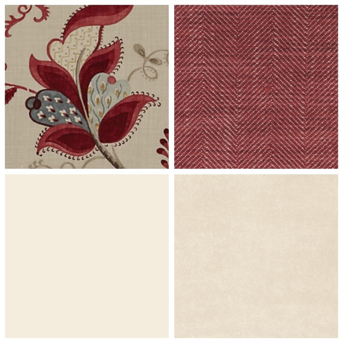 Sanderson's Roslyn in Berry/Slate is a wonderful warm large scale floral heavyweight linen
