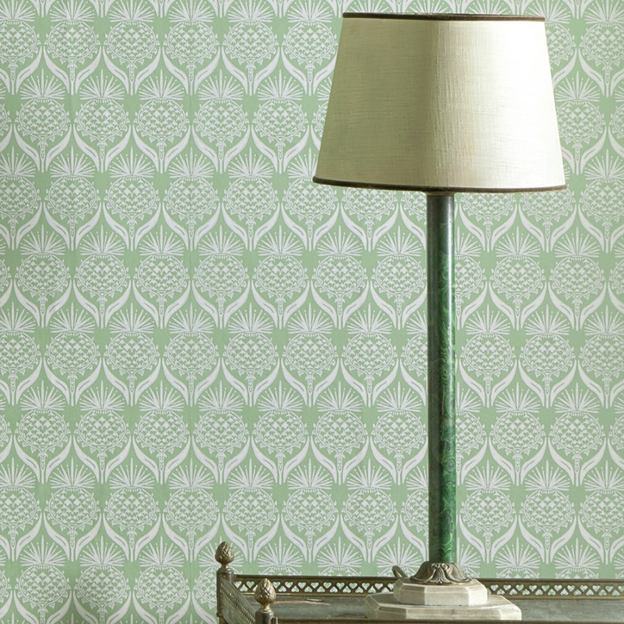 Barneby Gates Artichoke Thistle green wallpaper