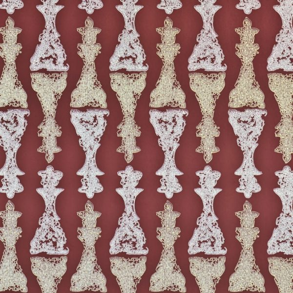 Barneby Gates Chess wallpaper burgundy