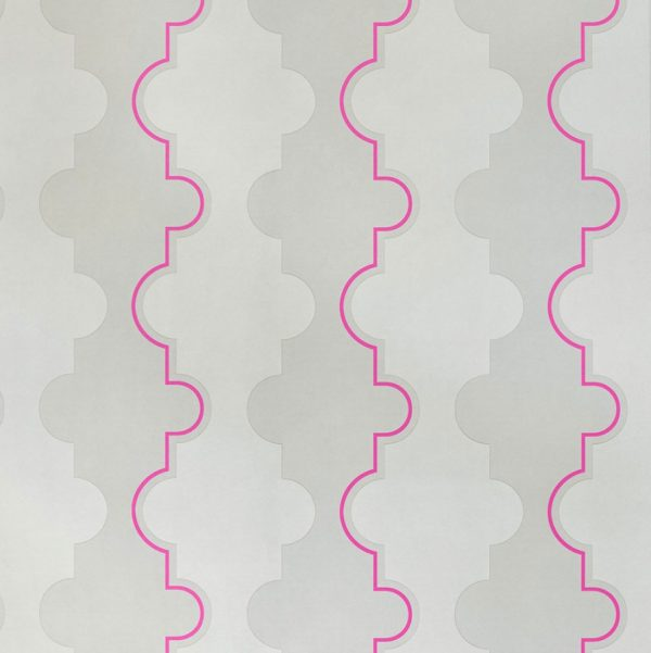 Barneby Gates Jigsaw Stripe pink wallpaper