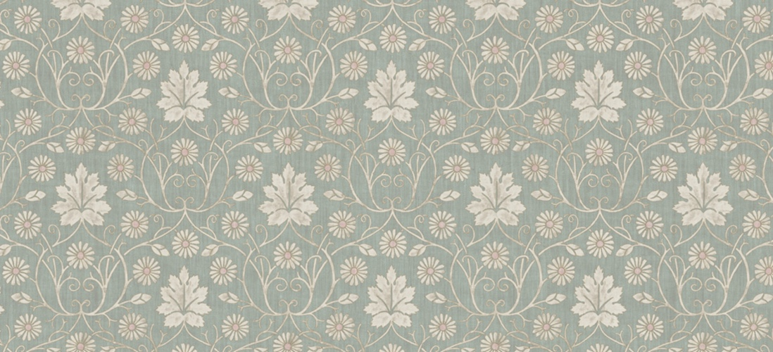Lewis & Wood Vineheart Sea Holly printed linen fabric