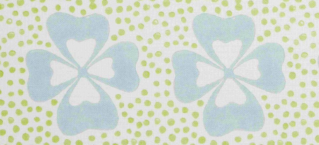 Molly Mahon Duck Egg Clover blue green floral linen fabric