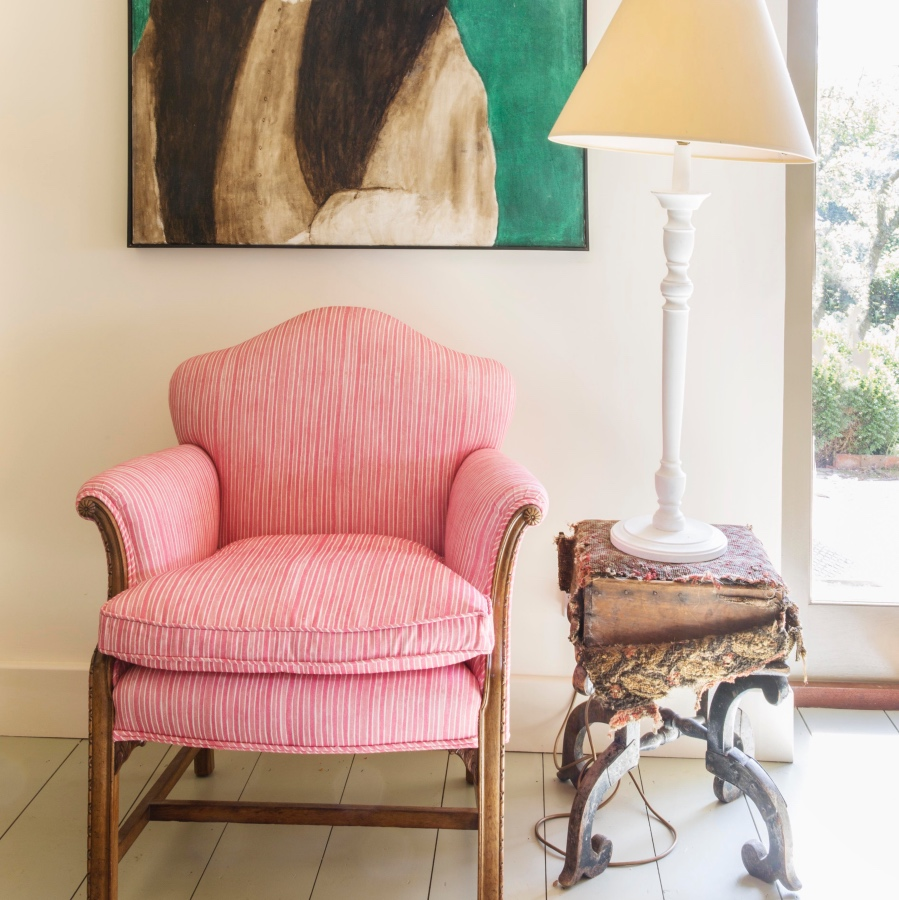 Pink stripe fabric Molly Mahon