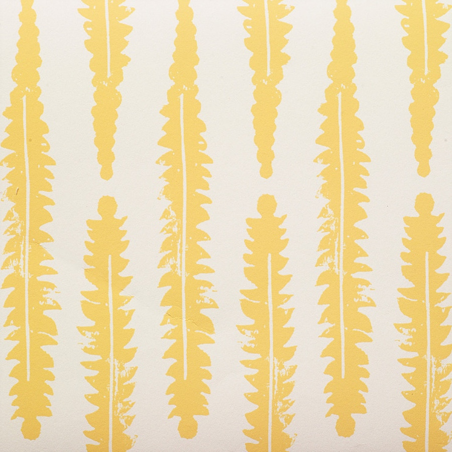 Molly Mahon Fern Mustard hand blocked wallpaper