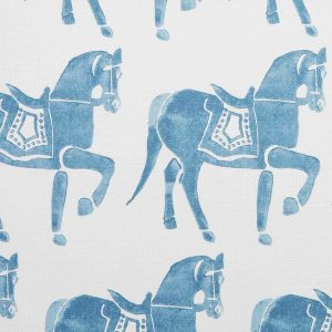 Molly Mahon Marwari Horse Blue hand blocked fabric
