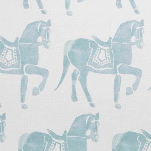Molly Mahon Marwari Horse Duck Egg hand blocked fabric