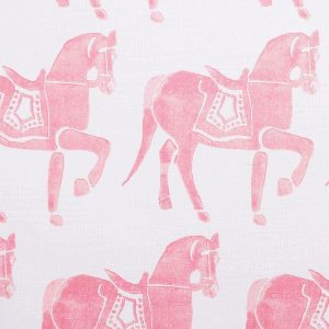 Molly Mahon Marwari Horse Pink hand blocked fabric