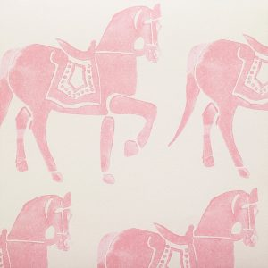 Molly Mahon Marwari Horse Rose pink girls room wallpaper