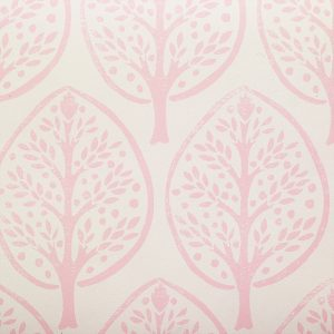 Molly Mahon Tree Pink hand blocked wallpaper