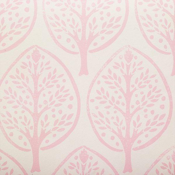 Molly Mahon Tree Pink hand blocked wallpaper