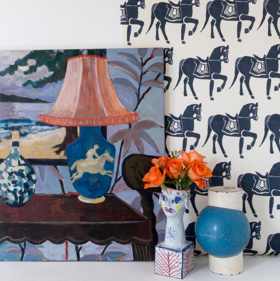 Molly Mahon Wallpaper Mawari Horse Deep Blue