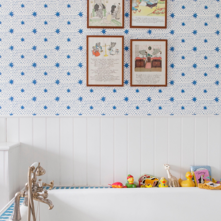 Molly Mahon Wallpaper Spot & Star Denim Blue