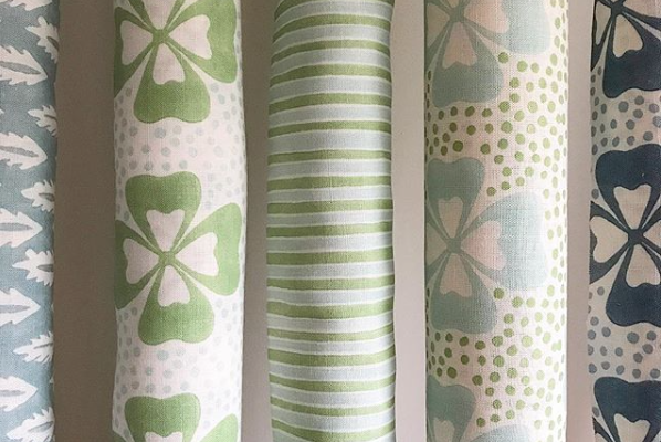 Molly Mahon Clover and Stripe blue green fabric