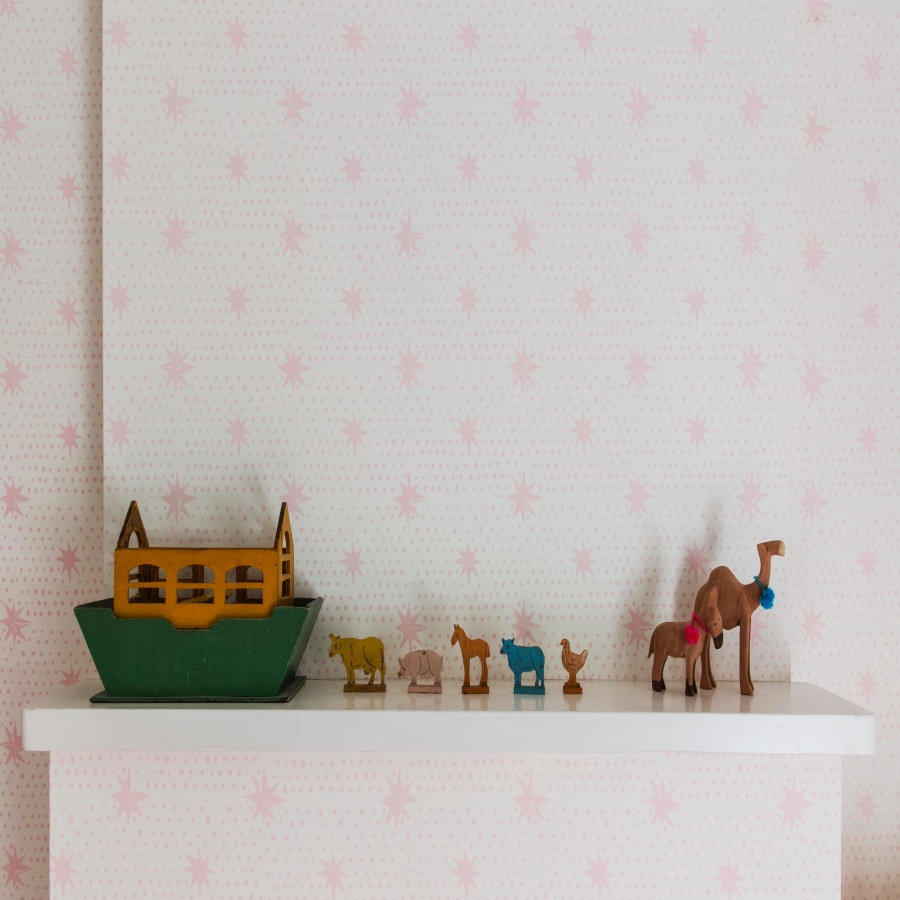 Girls bedroom pink wallpaper