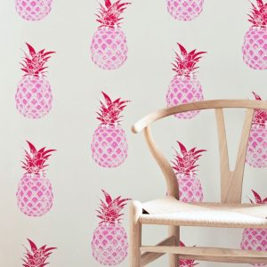 Barneby Gates Pineapple wallpaper red pink