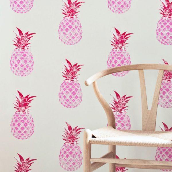 Barneby Gates Pineapple wallpaper red pink