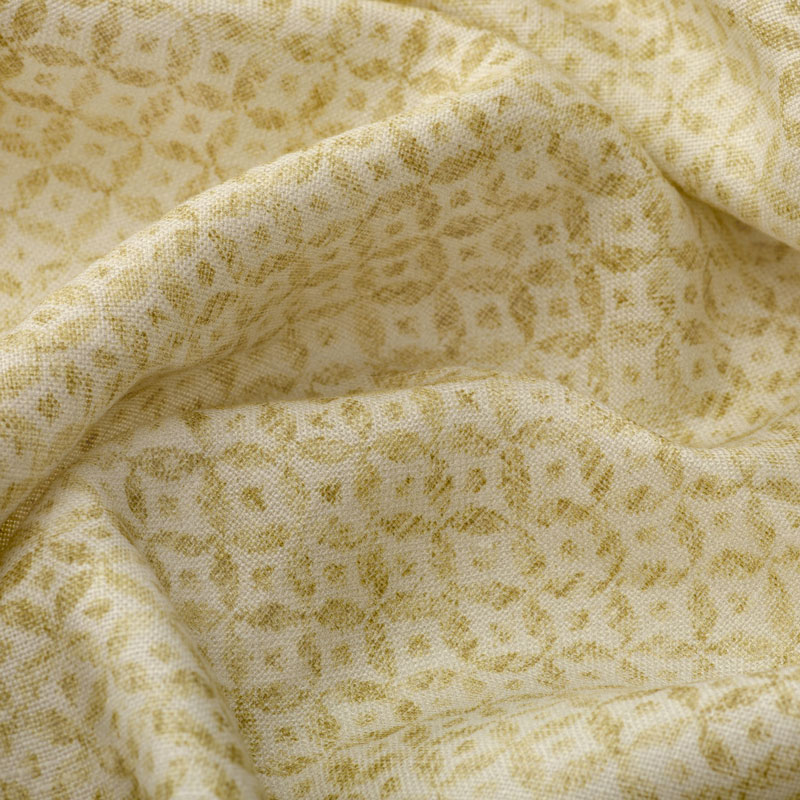 Inchyra Dedalo Mustard small scale pattern linen