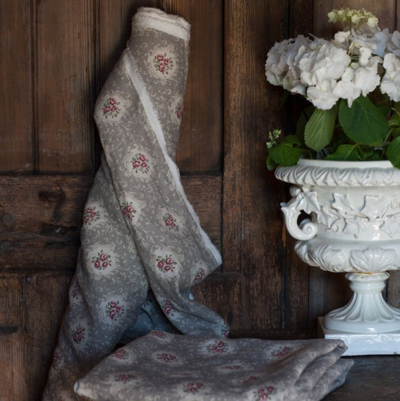 Inchyra Linens Posy Truffle vintage floral linen