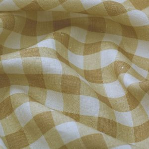 Inchyra Vintage Check Linen Mustard yellow