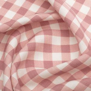 Inchyra Vintage Check Linen Raspberry pink fabric