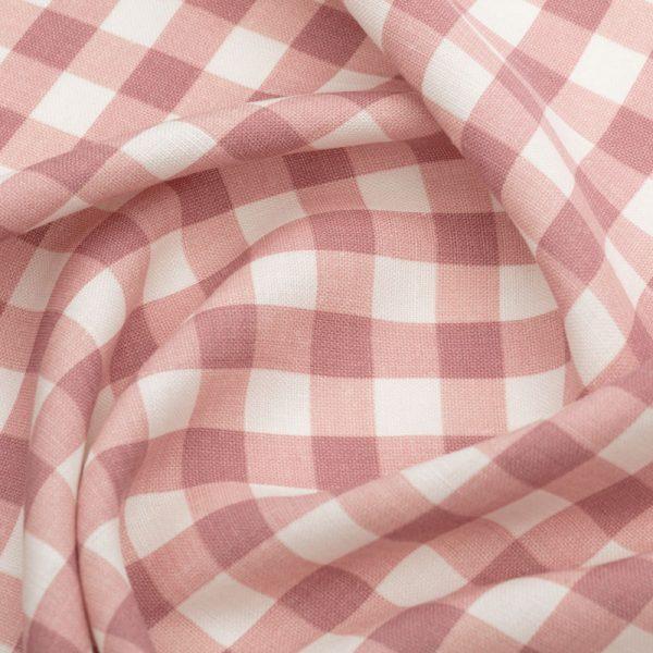 Inchyra Vintage Check Linen Raspberry pink fabric