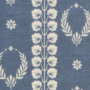 Inchyra Couronne Marine Blue linen curtain fabric