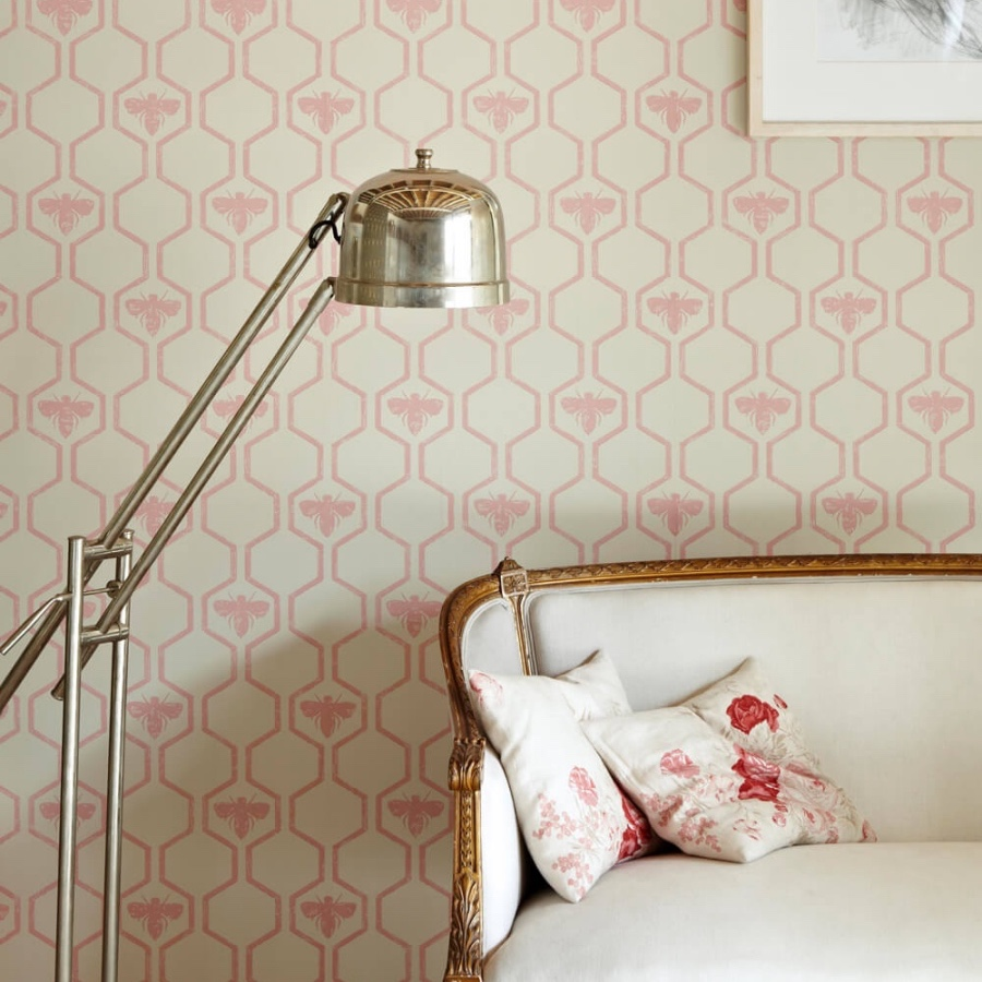 Barneby Gates honeybees rose on stone wallpaper