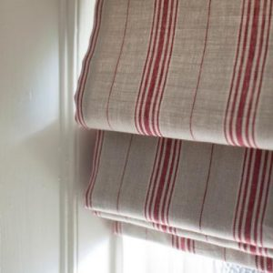 Inchyra Woven Linen Ticking Cardinal roman blind