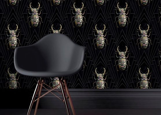 Lucanidea Botanicus Carmine Lake Stag beetle black wallpaper
