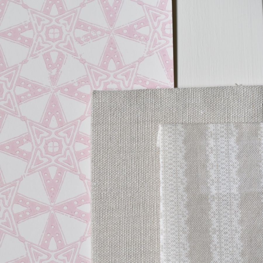 Decorating scheme using Barneby Gates Star Tile Pink wallpaper