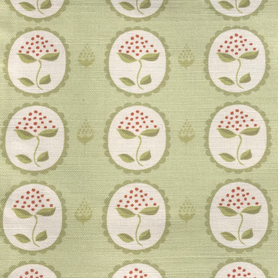 Anna Jeffreys Bud Green on Green linen fabric