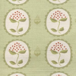 Anna Jeffreys Bud Green on Green linen fabric