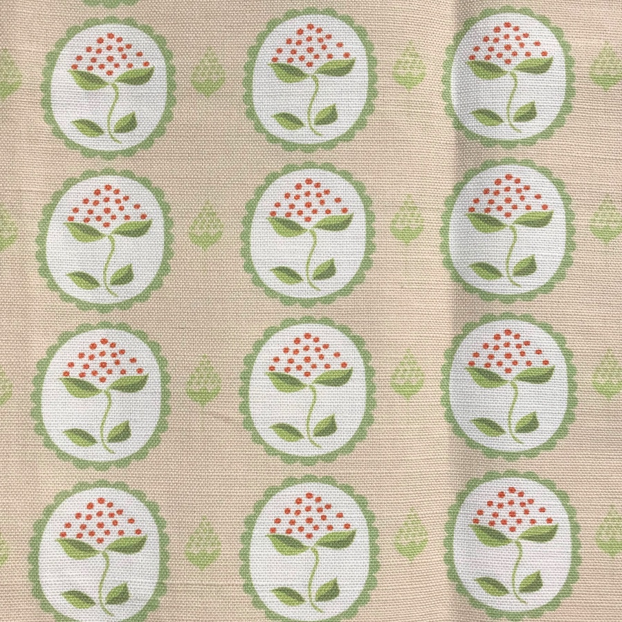 Anna Jeffreys Bud Green on Pink linen fabric