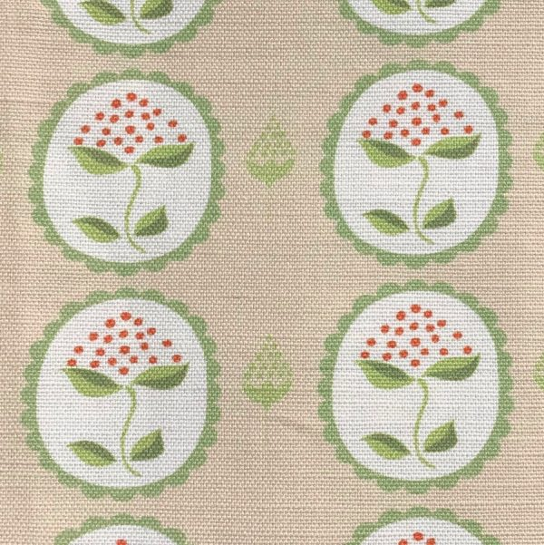 Anna Jeffreys Bud Green on Pink linen fabric